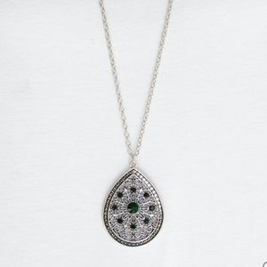 Silver Necklace With Emerald Green Rhinestones